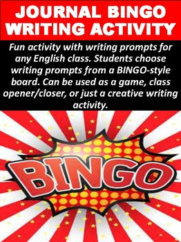 Journal BINGO Writing Activity