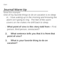 Journal Warmups
