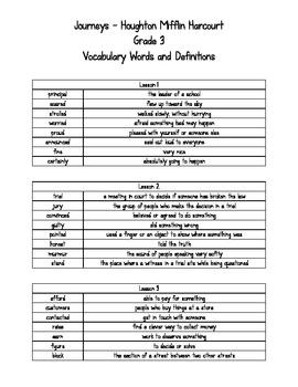 Journeys - HMH © 2011/2012 Grade 3 Vocabulary Words and De