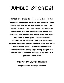 Jumble Stories Writing Activity