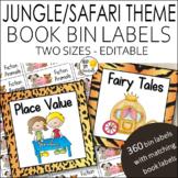 Jungle Safari Theme Classroom Library Book Bin Labels Editable!