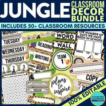 JUNGLE / SAFARI / ANIMALS Classroom Theme EDITABLE Decor 34 Product Bundle