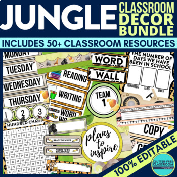 JUNGLE / SAFARI / ANIMALS Classroom Theme EDITABLE Decor 34 Product Bundle