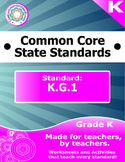 K.G.1 Kindergarten Common Core Bundle - Worksheet, Activit