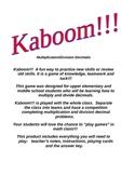 Kaboom!!! Multiply and Divide Decimal Game