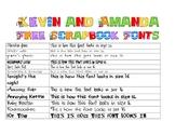Kevin and Amanda Scrapbook Fonts Examples