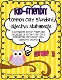 Kid-Friendly Common Core Standard Cards--Grade 1! {Bright