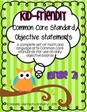 Kid-Friendly Common Core Standard Cards--Grade 3! {Bright