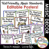 Kid Friendly Elementary Music Standards Posters - Custom -