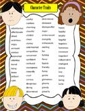 Artsy Teacher Cafe - CHARACTER TRAITS 2-Page Descriptive Words!