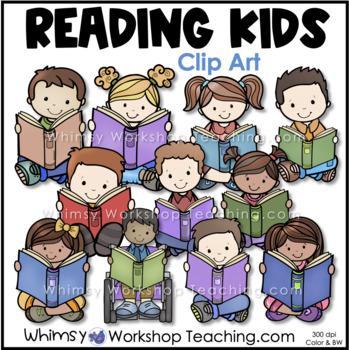 Kids Reading Clip Art - Whimsy Workshop Teaching