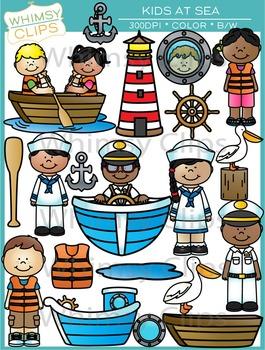Kids at Sea Clip Art