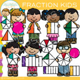 Kids with Fraction Shapes Clip Art