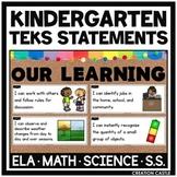 Kindergarten TEKS Bundle - I Can... Standards Statements