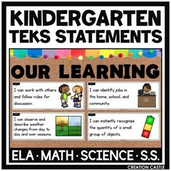 Kindergarten TEKS Bundle - I Can... and We will... Standards Statements