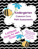 Kindergarten Common Core Math Assessments K.CC, K.OA, K.NB