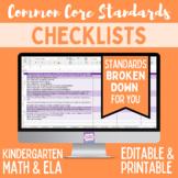 Kindergarten Common Core Standards Editable Checklist (Math/ ELA)