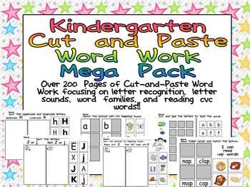 Kindergarten Cut and Paste Word Work- Mega Pack Bundle- le