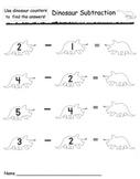 Kindergarten Dinosaur Subtraction Math