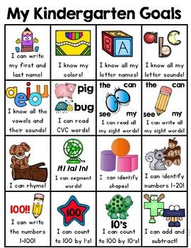 Kindergarten Goals Homework Insert