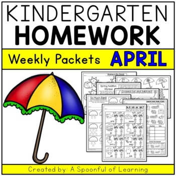 Kindergarten Homework- April (English Only) Aligned to CC