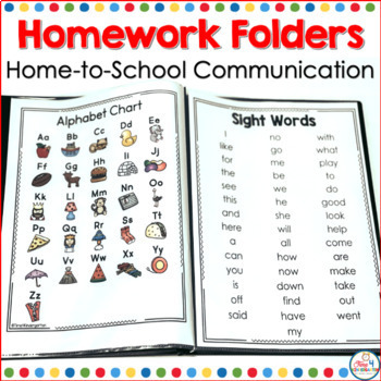 kindergarten homework folders, homework for kindergarten