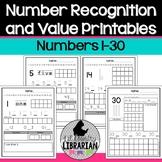 Kindergarten Number Recognition and Value Worksheets 1 to 30