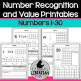Kindergarten Number Recognition and Value Worksheets 1 to 30