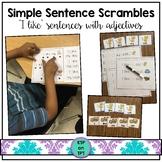 "Simple Sentence Scrambles ""I like..."" (sight words and adj"