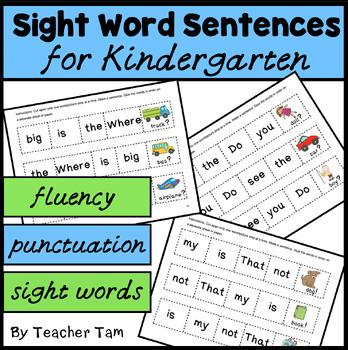 Sight Word Cut-and-Glue Sentences for Kindergarten