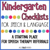 Kindergarten Speech and Language Guidelines & Checklists