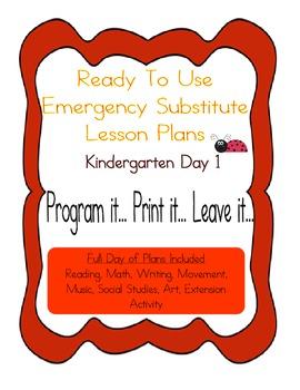 Kindergarten No Prep Editable Substitute, Emergency Lesson