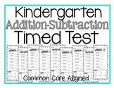 Kindergarten Timed Add/Subtraction Test
