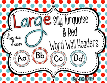 LARGE Turquoise and Red Word Wall Headers {Two Size Choices}
