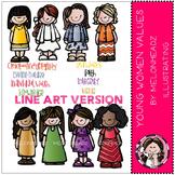 LDS Young Womens values LINE ART bundle