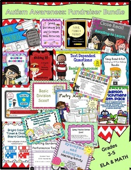 LITERACY & MATH BUNDLE 1 - Grades 3-5 - Autism Awareness F