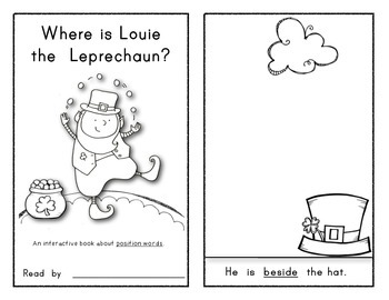 LOUIE THE LEPRECHAUN: Interactive Reader - Position Words! St. Patrick's Day!