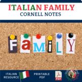 La Famiglia - Italian Family Vocabulary Cornell Notes and
