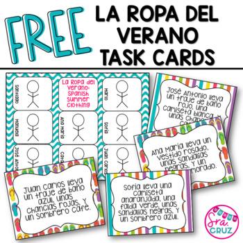 La Ropa del Verano: Spanish Summer Clothing Task Cards FREEBIE