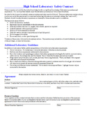 Lab Safety Contract for Science Laboratories- Lab Safety G