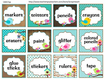 LABELS OR TAGS (BIRD THEME) CLASSROOM DECORATION ...