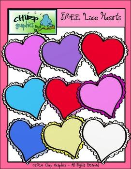 Free Lace Hearts Clip Art Set