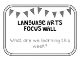 Language Arts Focus Wall - Polka Dot Bunting