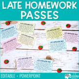 Late Homework Passes - Editable