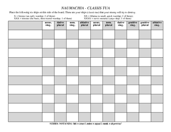 Latin Battleship (Nouns & Verbs) Packet
