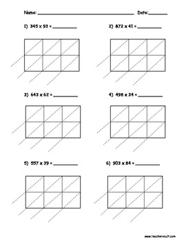 Printables Lattice Multiplication Worksheets solving multiplication problems using the lattice method limited www teacherspayteachers com multiplication