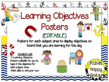 Learning Objectives Posters (EDITABLE) ~ Nautical