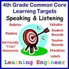 Learning Targets for 4th Grade Speaking & Listening Poster