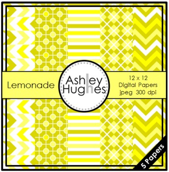 FREE Lemonade {12x12 Digital Papers for Commercial Use}