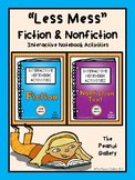 """Less Mess"" Fiction and Nonfiction Interactive Notebook Ac"
